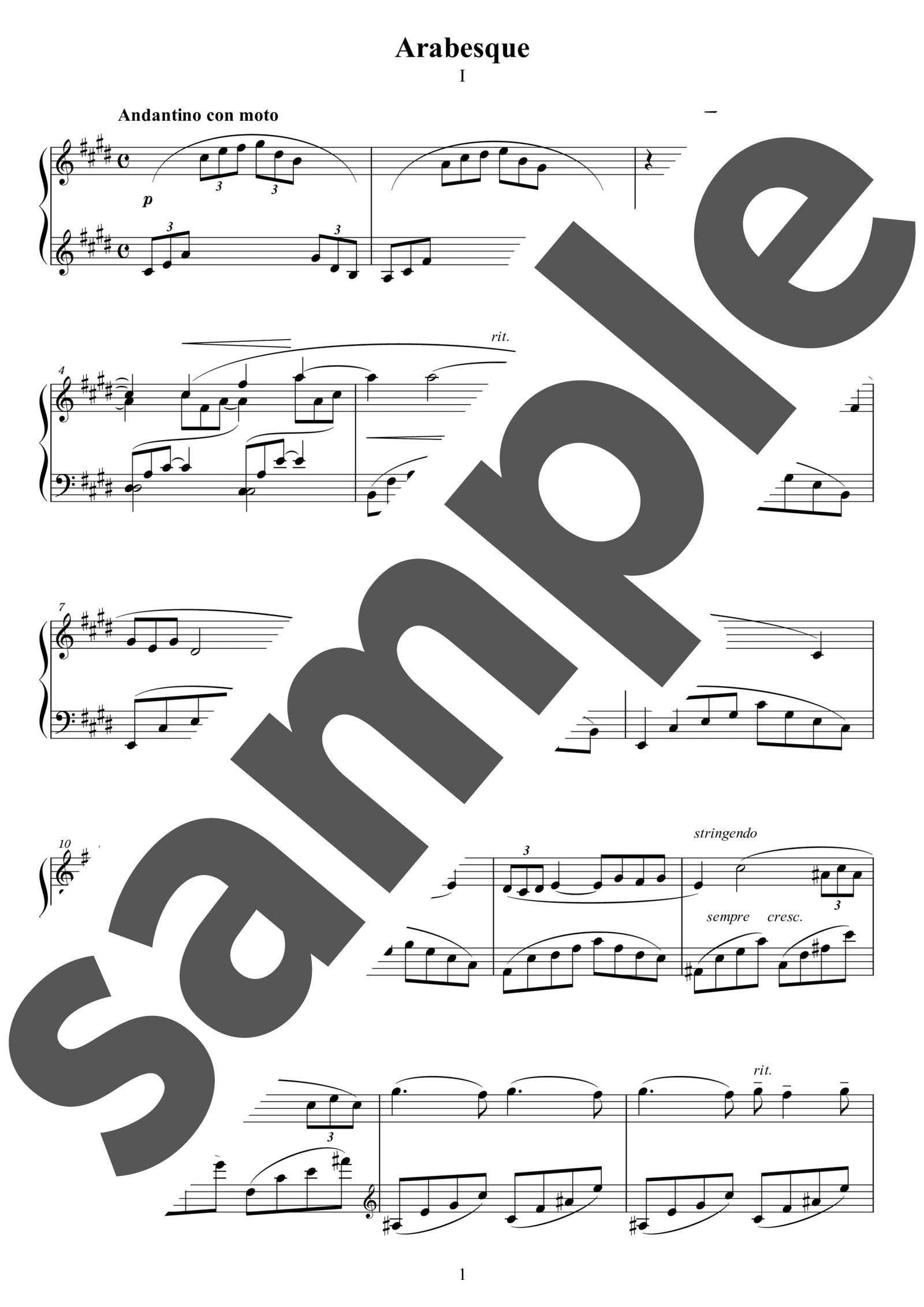 ピアノ楽譜】2つのアラベスク第1番 / C.Debussy(ソロ / 中上級 ...