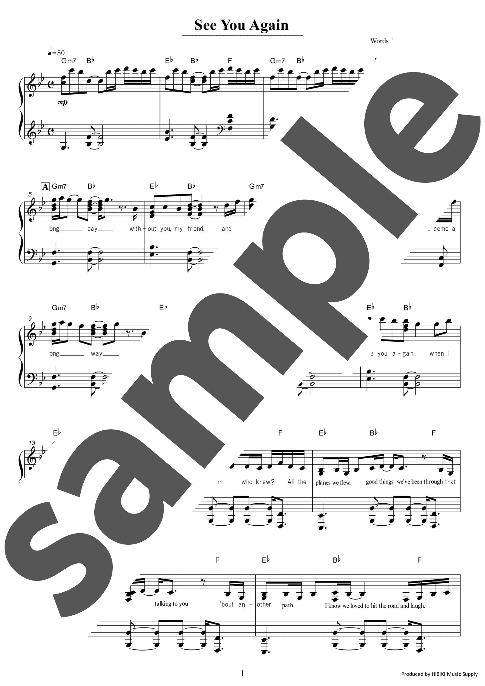 楽譜 シーユー アゲイン